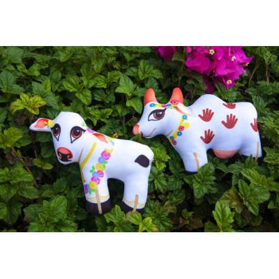 Textilní panenky - kravička s telátkem 13 cm