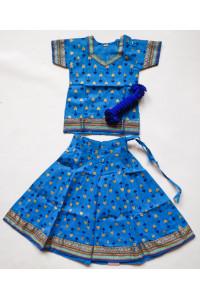Holčičí polosárí - jihoindcká bavlna s potiskem, modrá, vel. 16