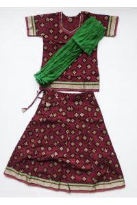 Vínový jihoindický set sukně s kurtičkou, vel. 24