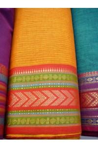 Jihoindická bavlna s vyšívaným okrajem - žlutá s červeným proužkem