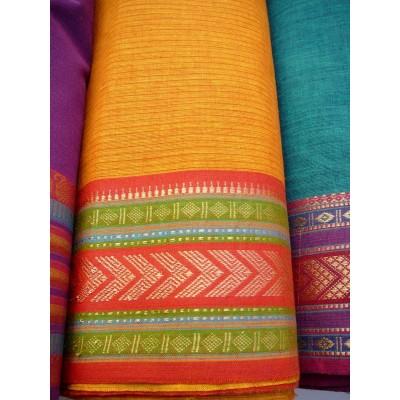 Jihoindická bavlna s vyšívaným okrajem - cihlová