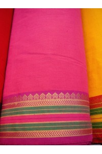 Jihoindická bavlna s vyšívaným okrajem - fuchsiová