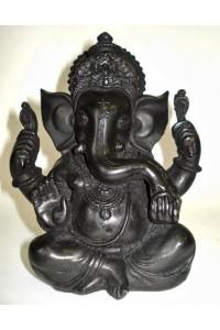 Černá soška Ganéši, 9 x 14 cm