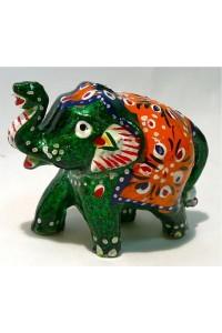 Zelený, malovaný slon ve 3.velikostech