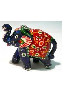 Tmavě modrý ozdobený slon ve 3.velikostech