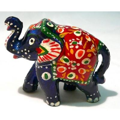 Tmavě modrý ozdobený slon ve 2.velikostech