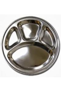 Talíř z nerezu se čtyřmi přihrádkami - průměr 32 cm.
