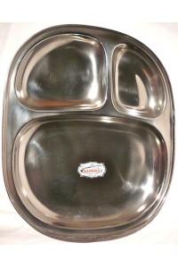 Oválný talíř z nerezu se třemi přihrádkami - 24 x 20 cm.
